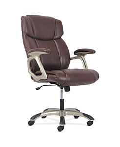 basyx by HON High-Back Executive Chair Brown Fixed Arms Front Side View HVST312