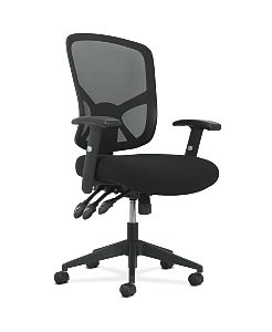 basyx by HON High-Back Task Chair Mesh Back Black Adjustable Arms Front Side View HVST121