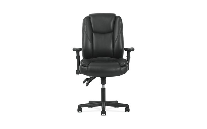 basyx by HON High-Back Task Chair Black Adjustable Arms Front View HVST331