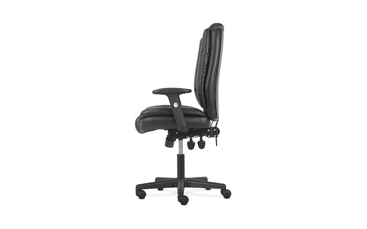 basyx by HON High-Back Task Chair Black Adjustable Arms Side View HVST331
