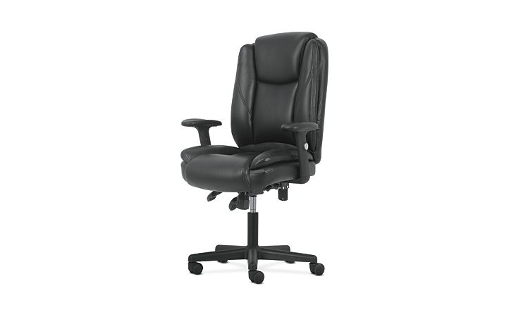 basyx by HON High-Back Task Chair Black Adjustable Arms Front Side View HVST331