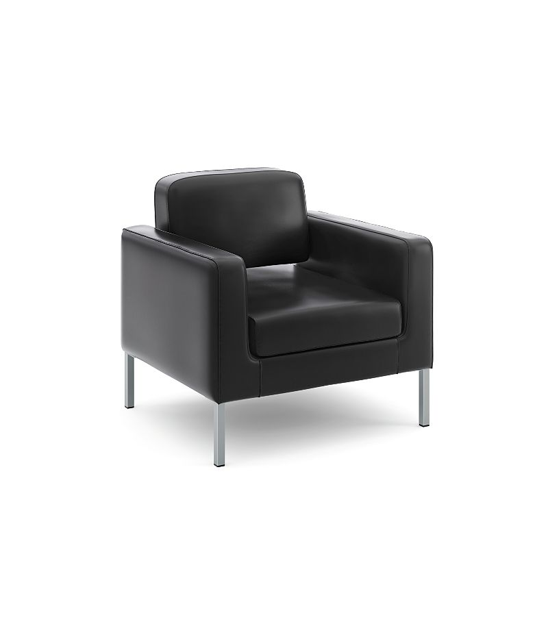 basyx Lounge Seating Club Chair Black Front Side View HVL887.SB11