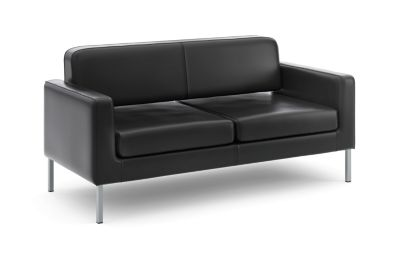 basyx Loung Seating Sofa Black Leather Front Side View HVL888.SB11