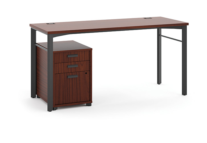 basyx Manage Table Desk Brown Front View HMLDP6024C