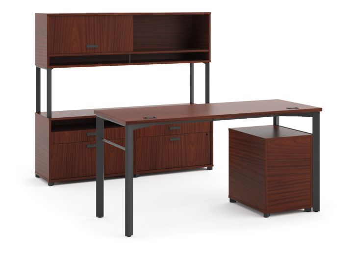 basyx Manage Executive Workstation Brown Front View HMLDPFO6082C