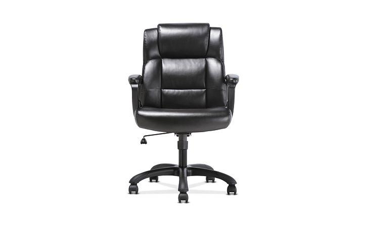 basyx by HON Mid-Back Executive Chair Black Fixed Arms Front View HVST305