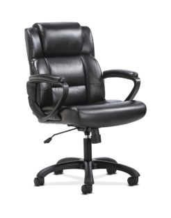 basyx by HON Mid-Back Executive Chair Black Fixed Arms Front Side View HVST305