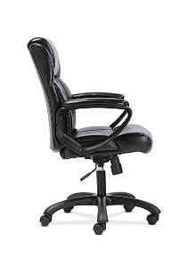 basyx by HON Mid-Back Executive Chair Black Fixed Arms Side View HVST305