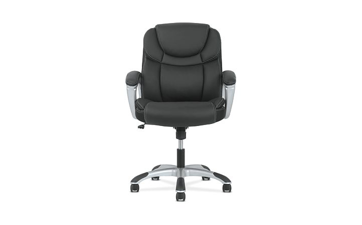 basyx by HON Mid-Back Executive Chair Black Fixed Arms Front View HVST306