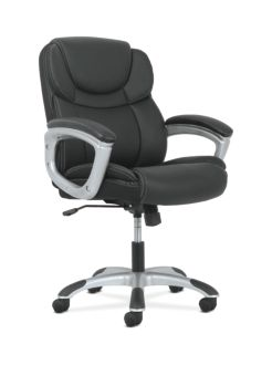 basyx by HON Mid-Back Executive Chair Black Fixed Arms Front Side View HVST306