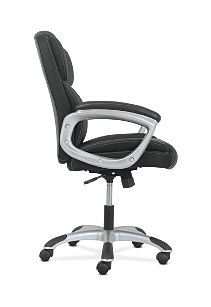 basyx by HON Mid-Back Executive Chair Black Fixed Arms Side View HVST306