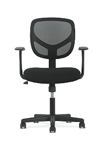 basyx by HON High-Back Task Chair Mesh Back Black Adjustable Arms Front View HVST102