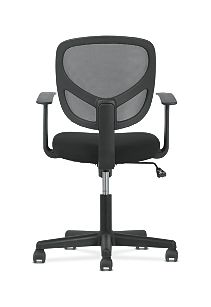 basyx by HON High-Back Task Chair Mesh Back Black Adjustable Arms Back View HVST102
