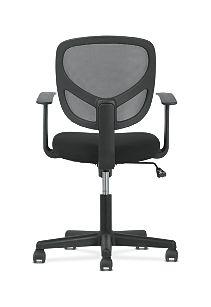 basyx by HON High-Back Task Chair Mesh Back Black Adjustable Arms Back View HVST102
