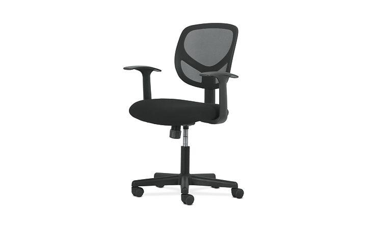 basyx by HON High-Back Task Chair Mesh Back Black Adjustable Arms Front Side View HVST102