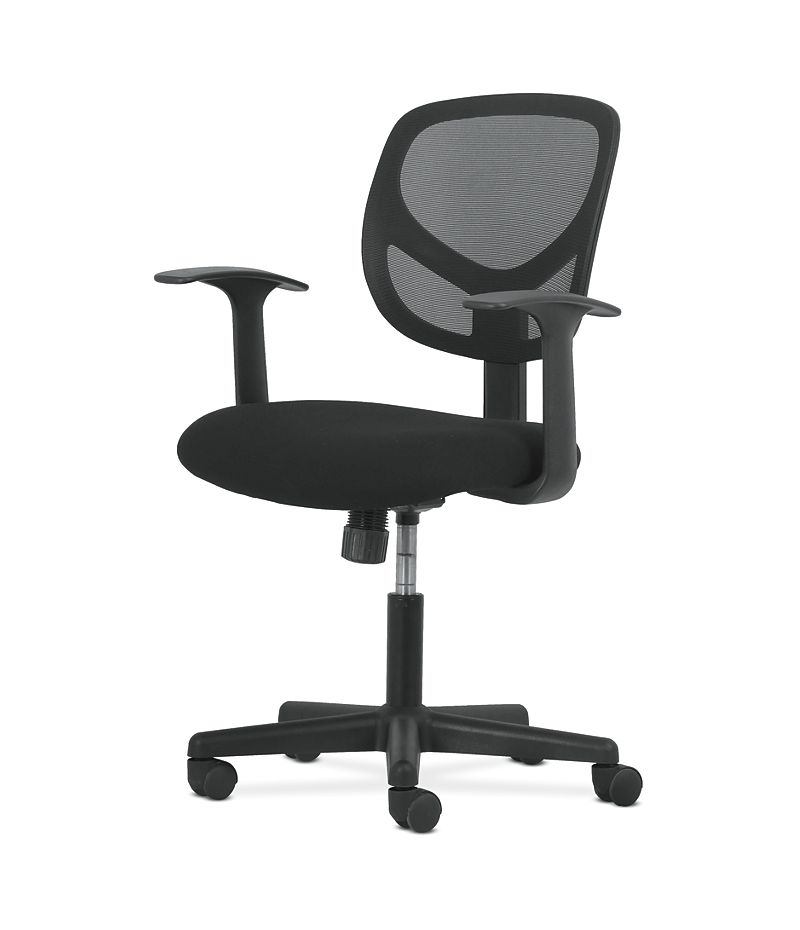 basyx by HON High-Back Task Chair Mesh Back Black Adjustable Arms Front Side View HVST102