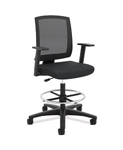 basyx Task Stool Mesh Mid-Back Task Stool Black Front Side View HVL515.LH10