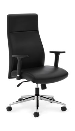 basyx VL100STG Executive High-Back Chair Black Leather Adjustable Arms Front Side View HVL108.SB11