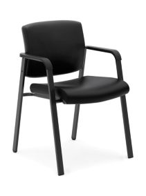basyx VL605STG Executive Guest Chair Black Leather Front Side View HVL605.SB11