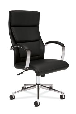 basyx basyx By Hon Executive Chair Black Leather Front Side View HVL105.SB11