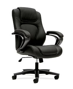 basyx by HON Executive High-Back Chair Black Leather Front Side View HVL402.SB11