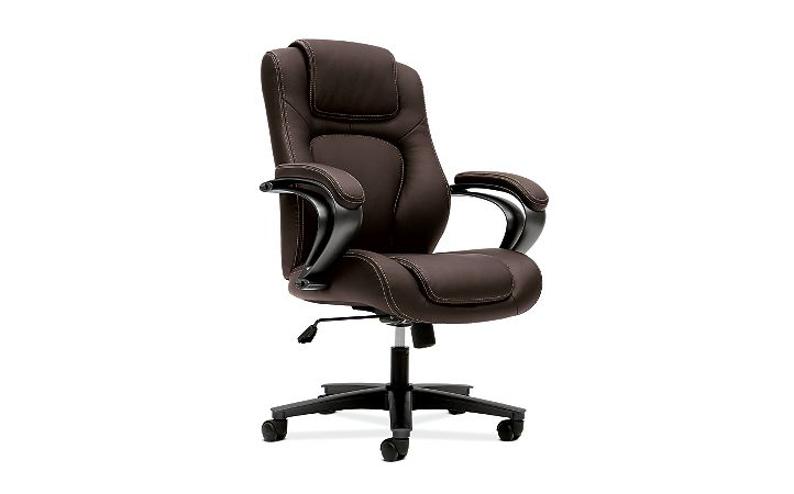 basyx by HON Executive High-Back Chair Maroon Leather Front Side View HVL402.SB45