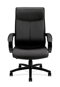 Basyx By HON Big and Tall Chair Black Leather Front View HVL685.SB11