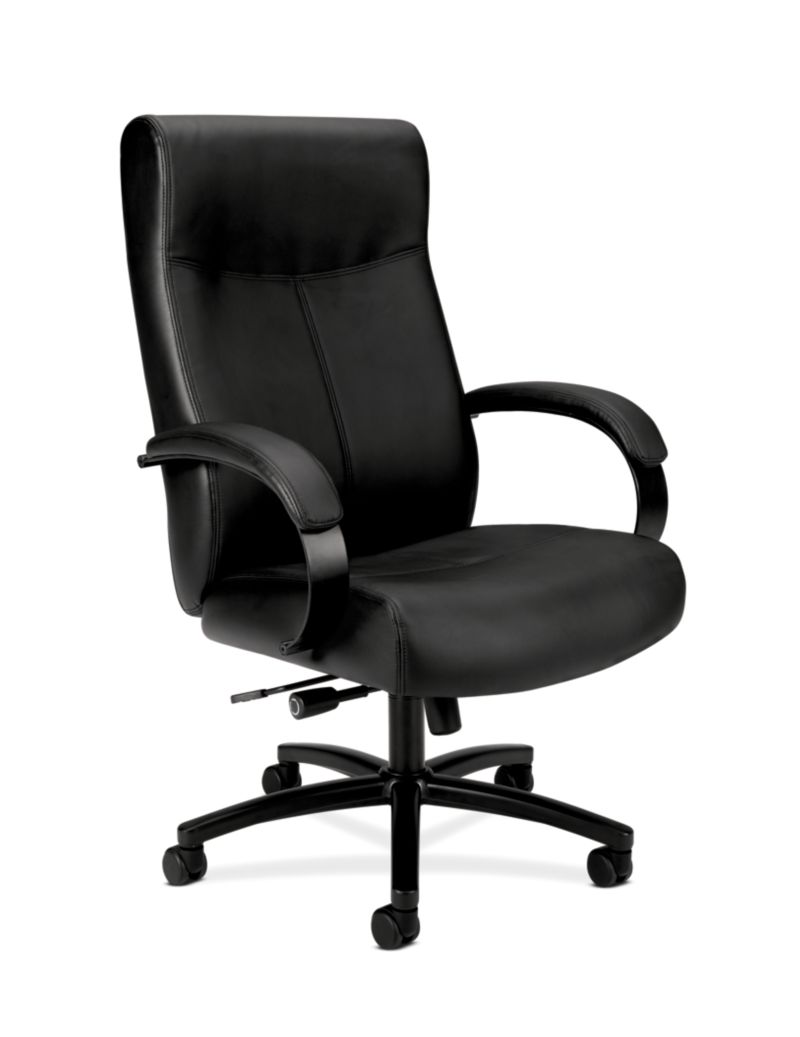 Basyx By HON Big and Tall Chair Black Leather Front Side View HVL685.SB11