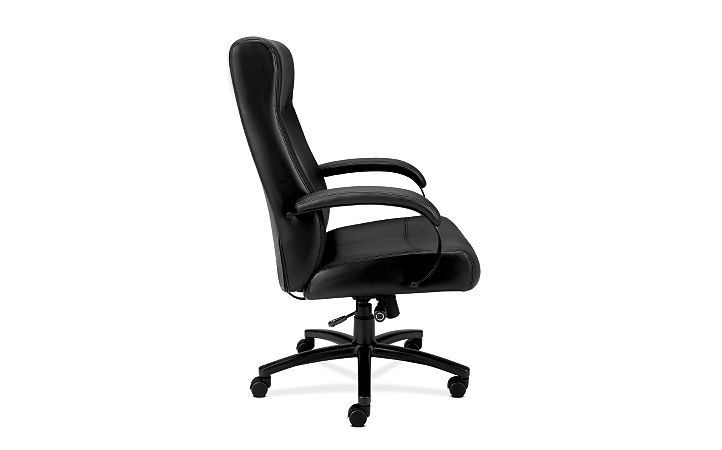 Basyx By HON Big and Tall Chair Black Leather Side View HVL685.SB11