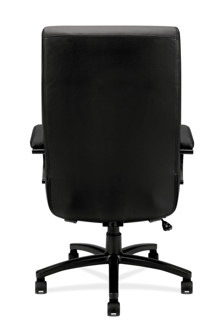 Basyx By HON Big and Tall Chair Black Leather Back View HVL685.SB11