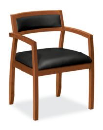 basyx by HON Guest Chair Gray Leather Bourbon Cherry Finish Front Side View HVL852.H.ST11