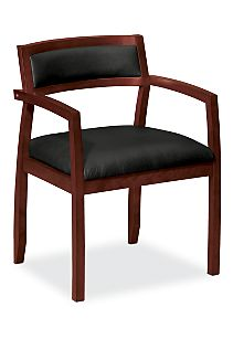 basyx by HON Guest Chair Gray Leather Mahogany Finish Front Side View HVL852.H.ST11