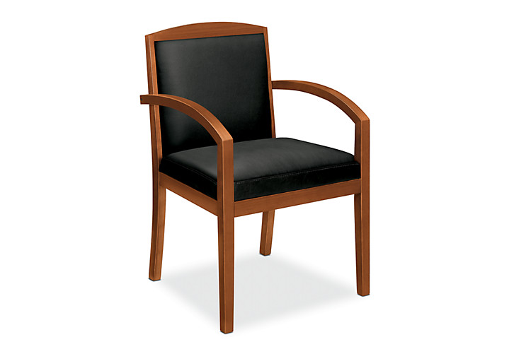 basyx by HON Guest Chair Gray Leather Bourbon Cherry Finish Front Side View HVL853.H.ST11