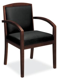 basyx by HON Guest Chair Gray Leather Mahogany Finish Front Side View HVL853.N.ST11