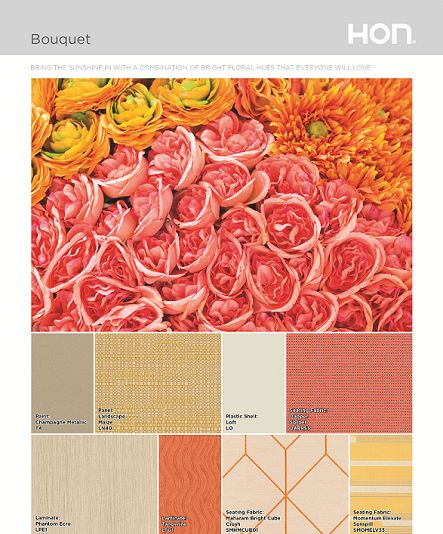 Bouquet HON Color Palette with colors and fabric samples
