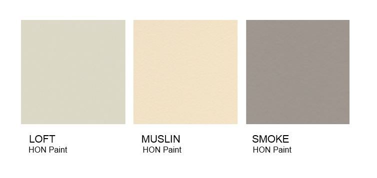Three squares of HON paint samples that include Loft, Muslin, and Smoke
