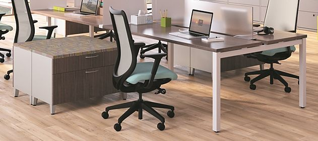 Open office space with benching solutions